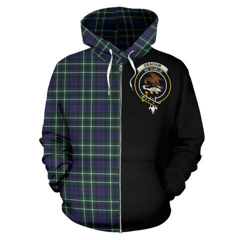 Graham of Montrose Modern Tartan Zip Up Hoodie Half Of Me - Black & Tartan