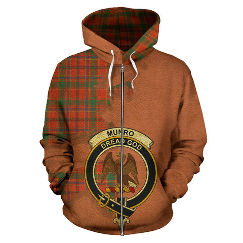 Tartan Hoodie - Clan Munro Ancient Crest & Plaid Zip-Up Hoodie - Scottish Lion & Map - Royal Style