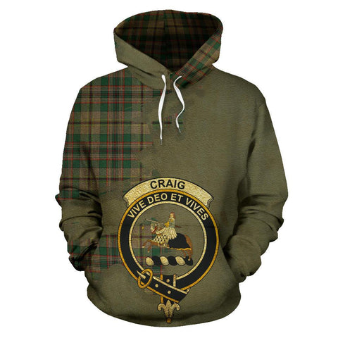 Image of Tartan Hoodie - Clan Craig Ancient Crest & Plaid Hoodie - Scottish Lion & Map - Royal Style