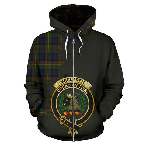 Tartan Hoodie - Clan MacLaren Modern Crest & Plaid Zip-Up Hoodie - Scottish Lion & Map - Royal Style