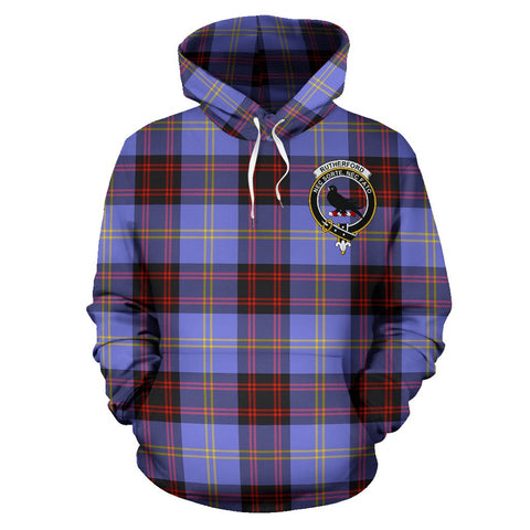 Tartan Clan Rutherford Plaid Hoodie With Crest
