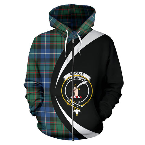 Tartan Zip Up Hoodie - Clan Macrae Hunting Ancient Zip Up Hoodie - Circle Style Unisex