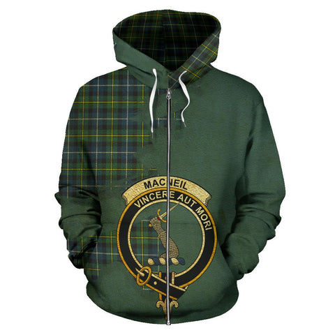 Tartan Hoodie - Clan MacNeill of Barra Ancient Crest & Plaid Zip-Up Hoodie - Scottish Lion & Map - Royal Style