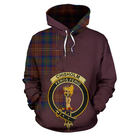 Tartan Hoodie - Clan Chisholm Hunting Modern Crest & Plaid Hoodie - Scottish Lion & Map - Royal Style