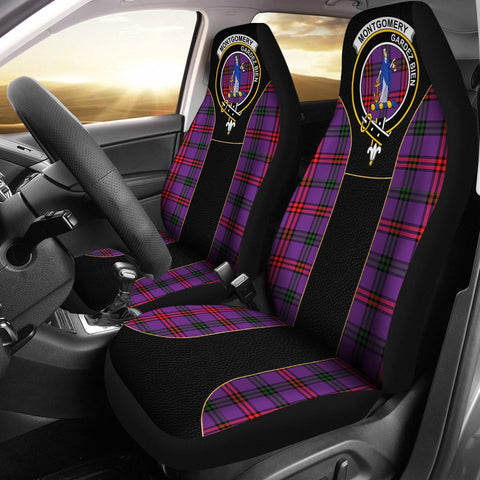 Montgomery Tartan Car Seat Cover Clan Badge - Special Version