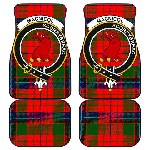 Image of Car Floor Mats - Clan Macnicol (Of Scorrybreac) Crest And Plaid Tartan Car Mats - 4 Pieces