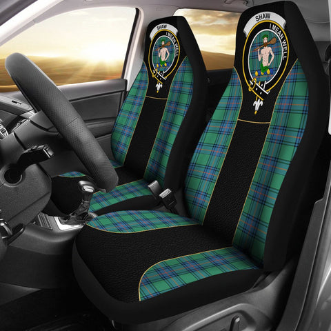 Shaw (Of Sauchie) Tartan Car Seat Cover Clan Badge - Special Version