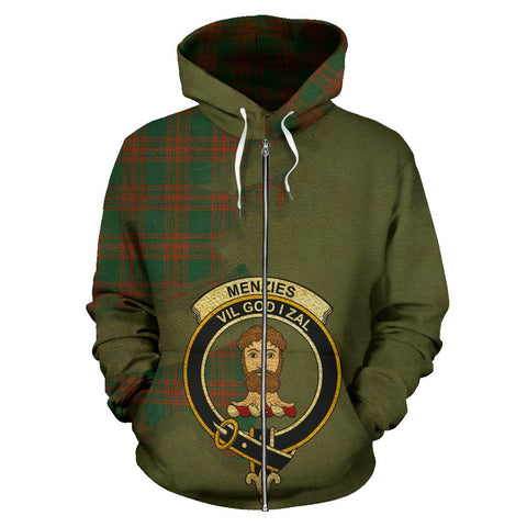 Tartan Hoodie - Clan Menzies Green Ancient Crest & Plaid Zip-Up Hoodie - Scottish Lion & Map - Royal Style
