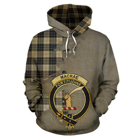 Tartan Hoodie - Clan MacRae Dress Modern Crest & Plaid Hoodie - Scottish Lion & Map - Royal Style