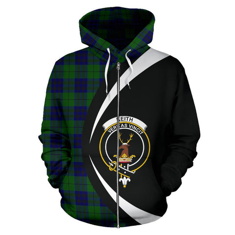 Custom Hoodie - Clan Keith Modern Plaid Tartan Zip Up Hoodie Design Your Own - Circle Style - Unisex Sizing