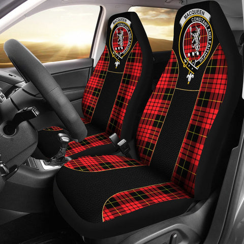 Macqueen Tartan Car Seat Cover Clan Badge - Special Version
