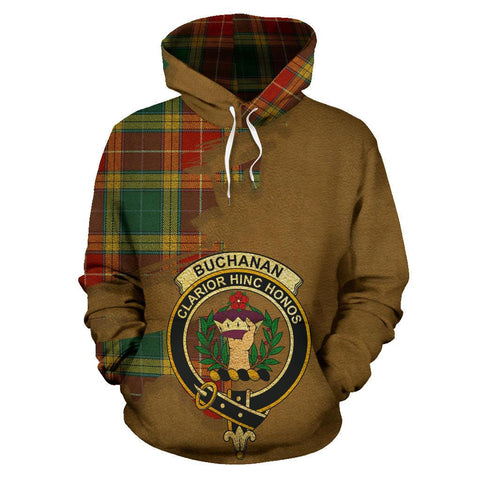 Tartan Hoodie - Clan Buchanan Old Sett Crest & Plaid Hoodie - Scottish Lion & Map - Royal Style