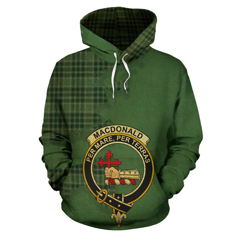 Tartan Hoodie - Clan MacDonald Lord of the Isles Hunting Crest & Plaid Hoodie - Scottish Lion & Map - Royal Style