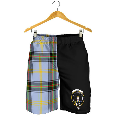 Tartan Mens Shorts - Clan Bell of the Borders Crest & Plaid Shorts - Half Of Me Style