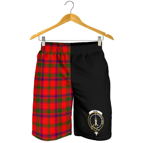 Image of Tartan Mens Shorts - Clan Bain Crest & Plaid Shorts - Half Of Me Style
