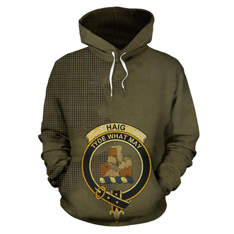 Image of Tartan Hoodie - Clan Haig Check Crest & Plaid Hoodie - Scottish Lion & Map - Royal Style