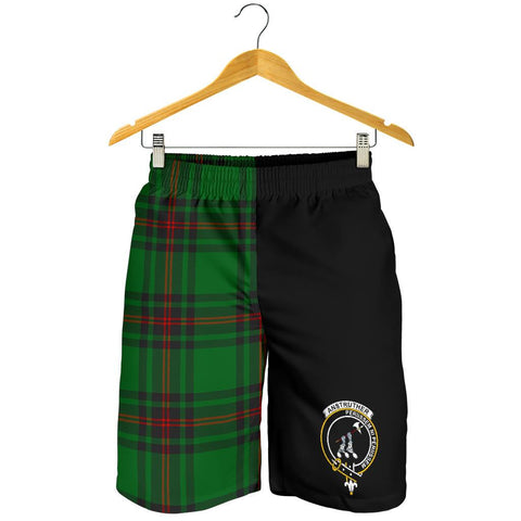 Tartan Mens Shorts - Clan Anstruther Crest & Plaid Shorts - Half Of Me Style