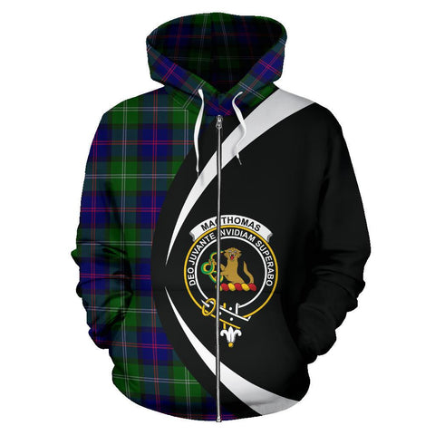 Custom Hoodie - Clan Macthomas Modern Plaid Tartan Zip Up Hoodie Design Your Own - Circle Style - Unisex Sizing