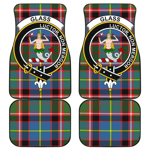 Car Floor Mats - Clan Glass Crest And Plaid Tartan Car Mats - 4 Pieces