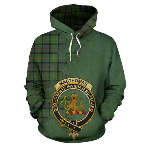 Tartan Hoodie - Clan MacThomas Ancient Crest & Plaid Hoodie - Scottish Lion & Map - Royal Style