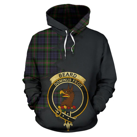 Image of Tartan Hoodie - Clan Beard Crest & Plaid Hoodie - Scottish Lion & Map - Royal Style