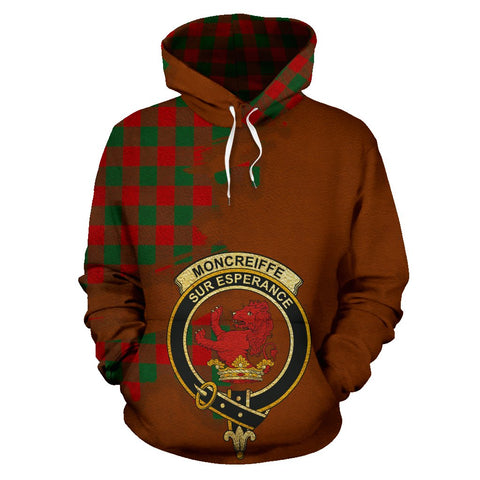 Tartan Hoodie - Clan Moncrieffe Crest & Plaid Hoodie - Scottish Lion & Map - Royal Style