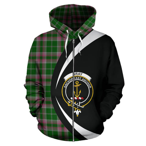 Tartan Zip Up Hoodie - Clan Gray Hunting Zip Up Hoodie - Circle Style Unisex