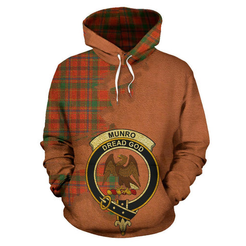 Image of Tartan Hoodie - Clan Munro Ancient Crest & Plaid Hoodie - Scottish Lion & Map - Royal Style