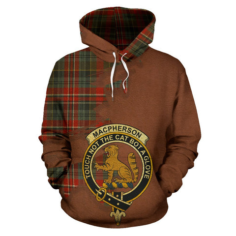 Tartan Hoodie - Clan MacPherson Weathered Crest & Plaid Hoodie - Scottish Lion & Map - Royal Style