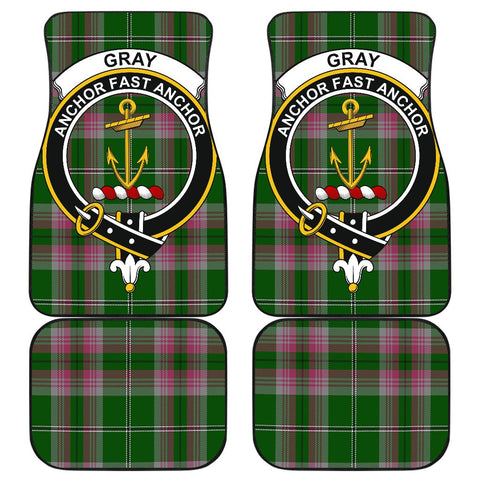 Car Floor Mats - Clan Gray Hunting Crest And Plaid Tartan Car Mats - 4 Pieces