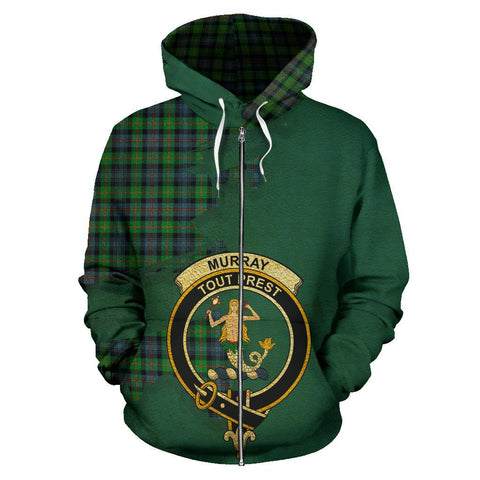 Tartan Hoodie - Clan Murray of Atholl Ancient Crest & Plaid Zip-Up Hoodie - Scottish Lion & Map - Royal Style