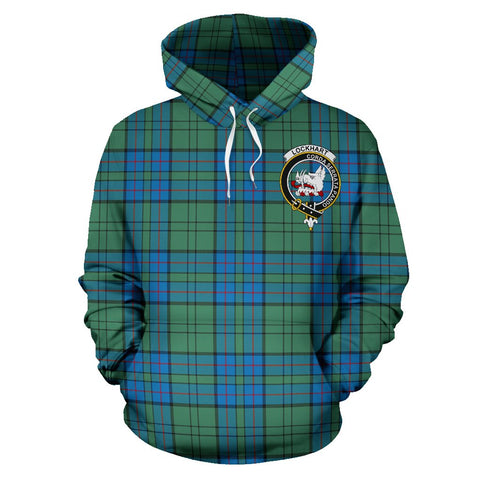 Image of Tartan Clan Lockhart Plaid Hoodie With Crest