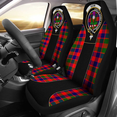 Gow (Of Skeoch) Tartan Car Seat Cover Clan Badge - Special Version