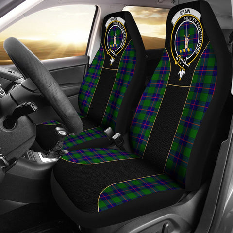 Shaw (Of Tordarroch) Tartan Car Seat Cover Clan Badge - Special Version