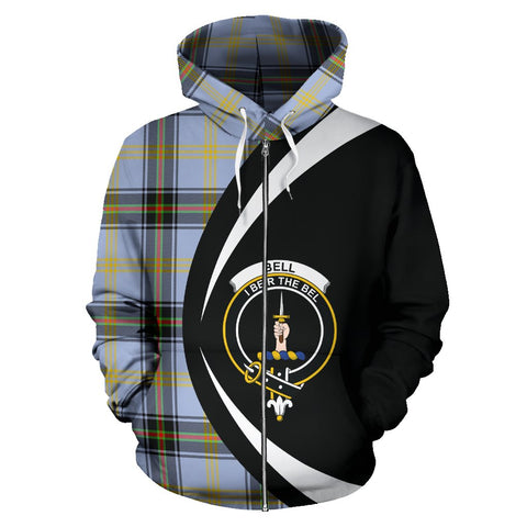 Image of Tartan Zip Up Hoodie - Clan Bell Of The Borders Zip Up Hoodie - Circle Style Unisex