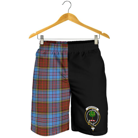 Tartan Mens Shorts - Clan Anderson Crest & Plaid Shorts - Half Of Me Style