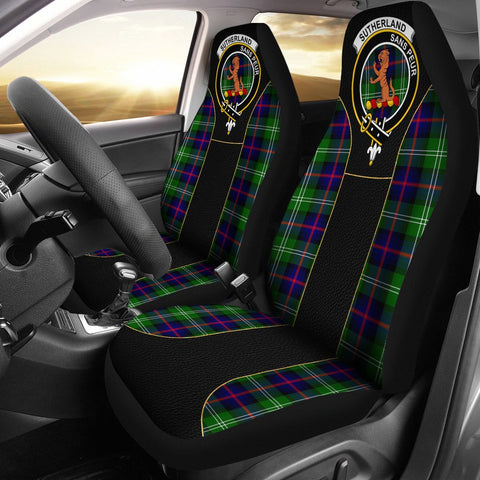 Sutherland Ii Tartan Car Seat Cover Clan Badge - Special Version