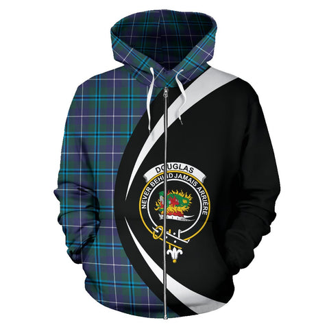 Image of Tartan Zip Up Hoodie - Clan Douglas Modern Zip Up Hoodie - Circle Style Unisex