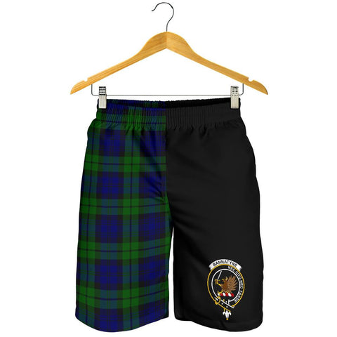 Image of Tartan Mens Shorts - Clan Bannatyne Crest & Plaid Shorts - Half Of Me Style