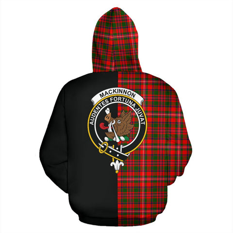 MacKinnon Modern Tartan Zip Up Hoodie Half Of Me - Black & Tartan