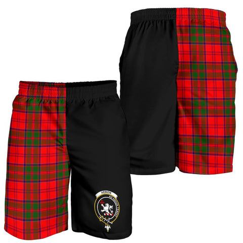 Image of Tartan Mens Shorts - Clan Heron Crest & Plaid Shorts - Half Of Me Style