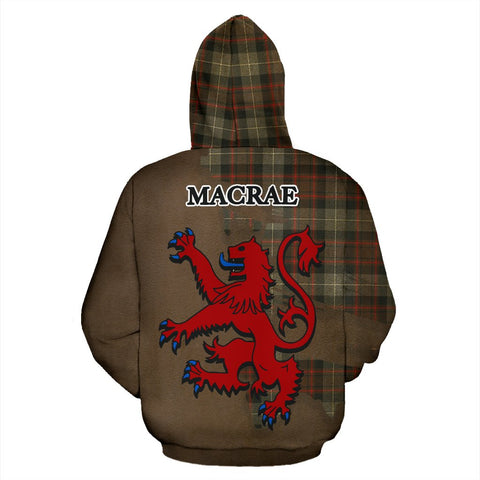 Image of Tartan Hoodie - Clan MacRae Hunting Weathered Crest & Plaid Hoodie - Scottish Lion & Map - Royal Style