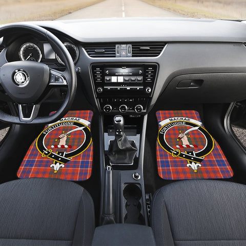 Image of Car Floor Mats - Clan Macrae Ancient Crest And Plaid Tartan Car Mats - 4 Pieces