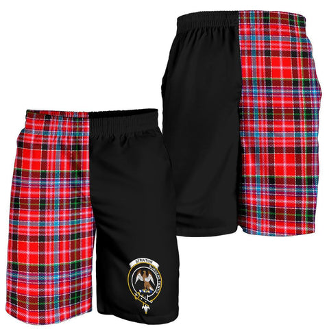 Image of Tartan Mens Shorts - Clan Straiton Crest & Plaid Shorts - Half Of Me Style