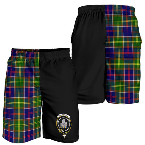 Tartan Mens Shorts - Clan Dalrymple Crest & Plaid Shorts - Half Of Me Style