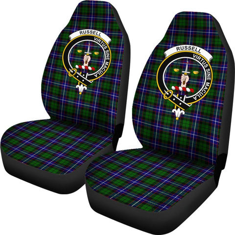 Russell Tartan Car Seat Covers - Clan Badge