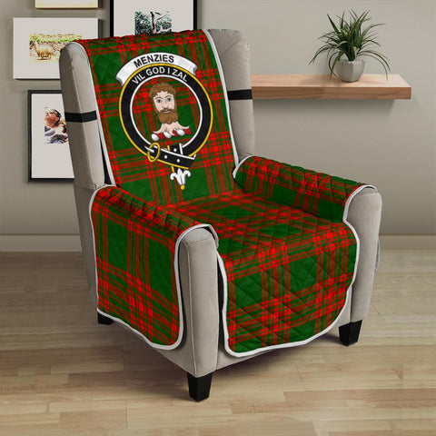 Image of Clan Menzies Green Modern Plaid & Crest Tartan Sofa Protector - 23 Inches