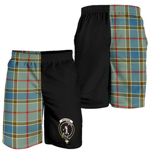 Image of Tartan Mens Shorts - Clan Balfour Blue Crest & Plaid Shorts - Half Of Me Style