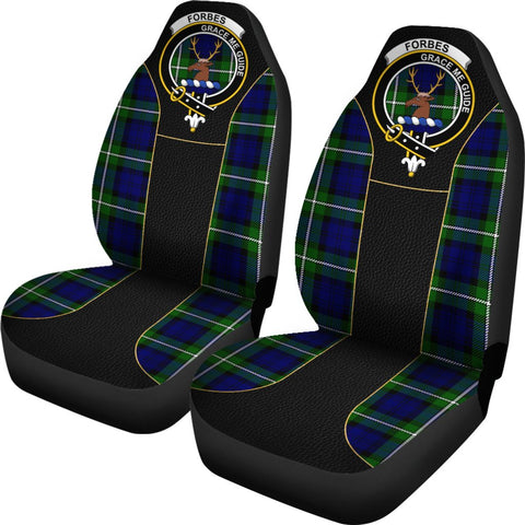 Seat Cover - Tartan Crest Forbes Tartan Car Seat Cover Clan Badge - Special Version - Universal Fit