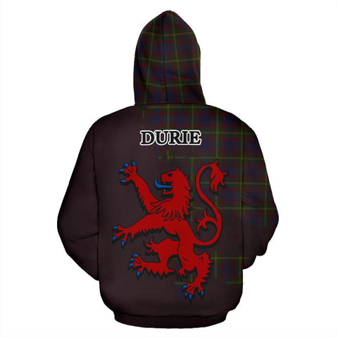 Tartan Hoodie - Clan Durie Crest & Plaid Zip-Up Hoodie - Scottish Lion & Map - Royal Style